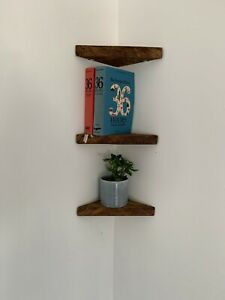 Foret Industrial Reclaimed Rustic Corner Shelf Handcrafted With Solid Wood Ebay