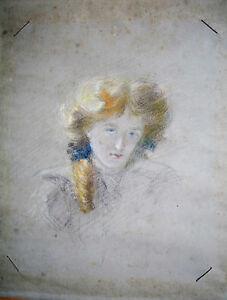 Détails Sur Dessin Craie Grasse Fusain Portrait Jeune Femme Fin Xix E Visage