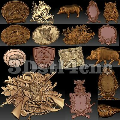 7 3D STL Models Hunting Boar set for CNC Router Carving Machine Artcam aspire