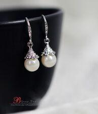 Boucles d`Oreilles Argenté Cristal Perle Class Vintage Original Mariage D 4