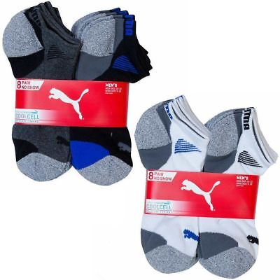 Puma Men/'s No Show Socks 8-pair Black Gray Shoe Size 6-12 Sport Cushion Support