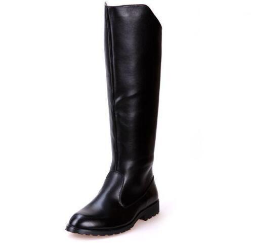 Équitation Homme Cuir Synthétique Army NOIR Militaire Long Chaussures bottes hautes Ske15