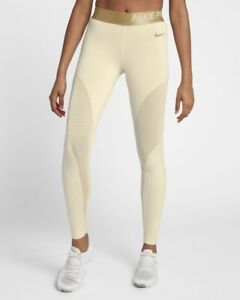 Details about Nike Pro Warm Women's Sparkle 78 Tights M Ivory Metallic Gold Gym Casual