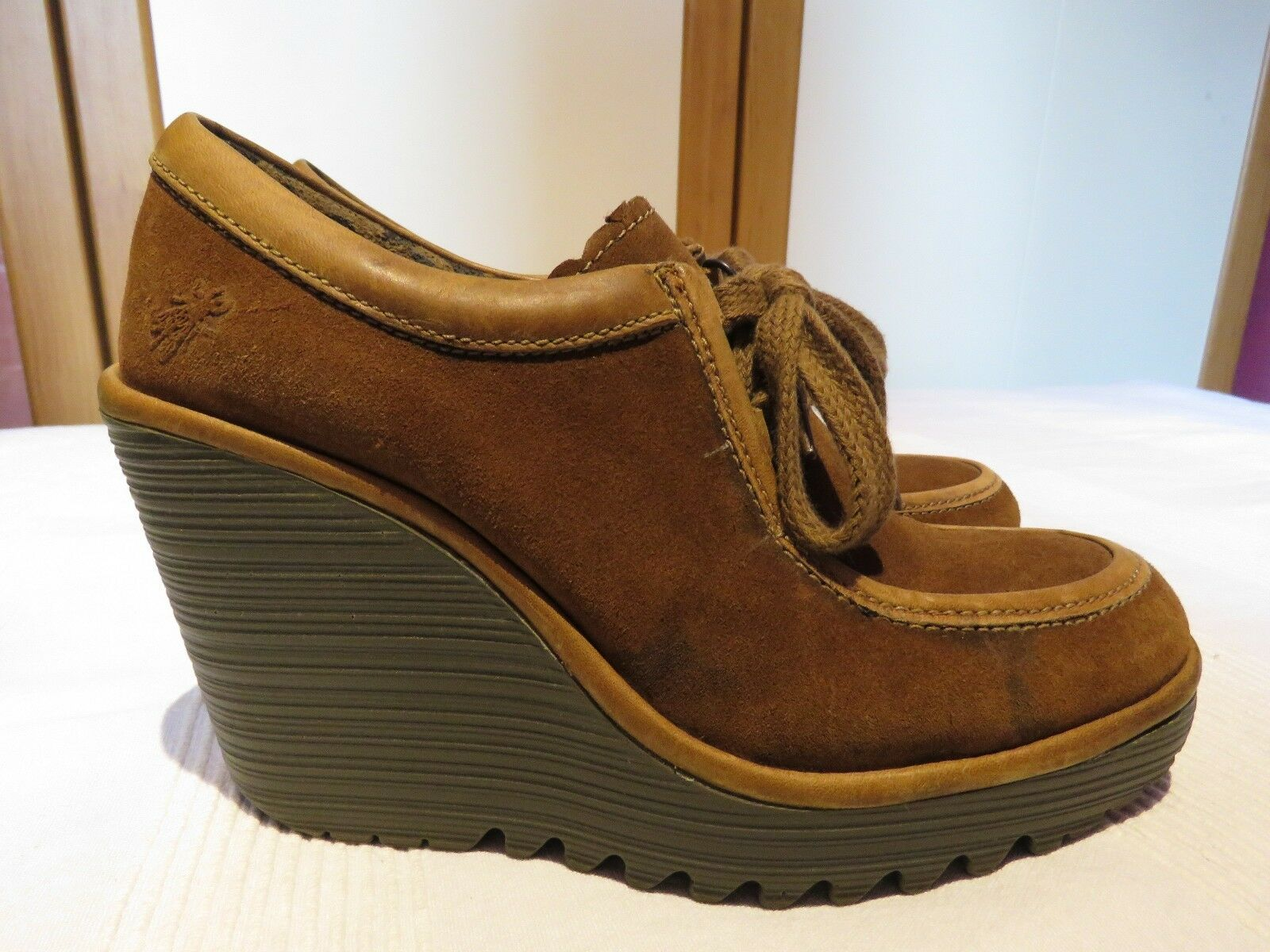 FLY LONDON CHERRY CELY CAMEL SUEDE HIGH WEDGE Schuhe BOOTIES UK 7 EUR 40