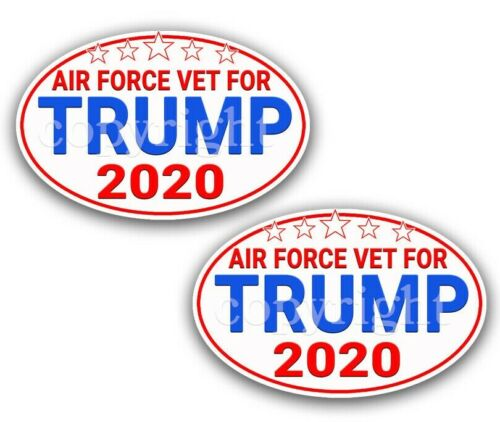 """AIR FORCE VETS for TRUMP 2020 Trump Political Bumper Stickers Decals 5/"""" 2-pack"""