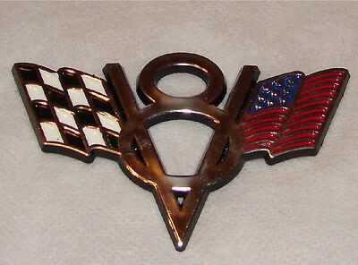 CHECKERED V8 V 8 EMBLEM FLAG SVT MUSTANG HEMI BADGE AMERICAN FLAG BADGE