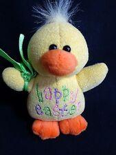 "Plush Duckling 6"" HAPPY EASTER Yellow Stuffed Animal Toy Duck 1999 GAC"