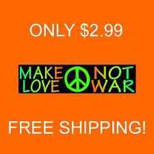"MAKE LOVE NOT WAR   Bumper Sticker  ""Honor John Lennon"" (Buy 2 Get 1 Free)"