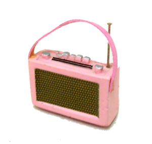 Dolls House 1960/'s Pink Transistor Radio Miniature 1:12 Accessories
