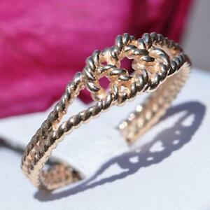 14k-yellow-gold-friendship-Lover-039-s-knot-ring-size-7-5-vintage-handmade-2-6gr