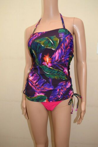 New M/&S Purple Leaf Floral Pink Rio Hipster Bottoms Tankini Sz UK 12 /& 16