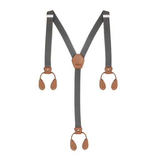 25mm Wide Mens Adjustable Elasticated Button Hole Grey Suspenders Y Shape Braces