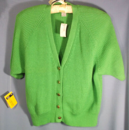 Vtg 1990s Womens  L Large Green Ribbed Knit Cardig
