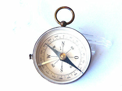 VTG Pocket BRASS COMPASS w/ Thick Glass Cover from the 1930s