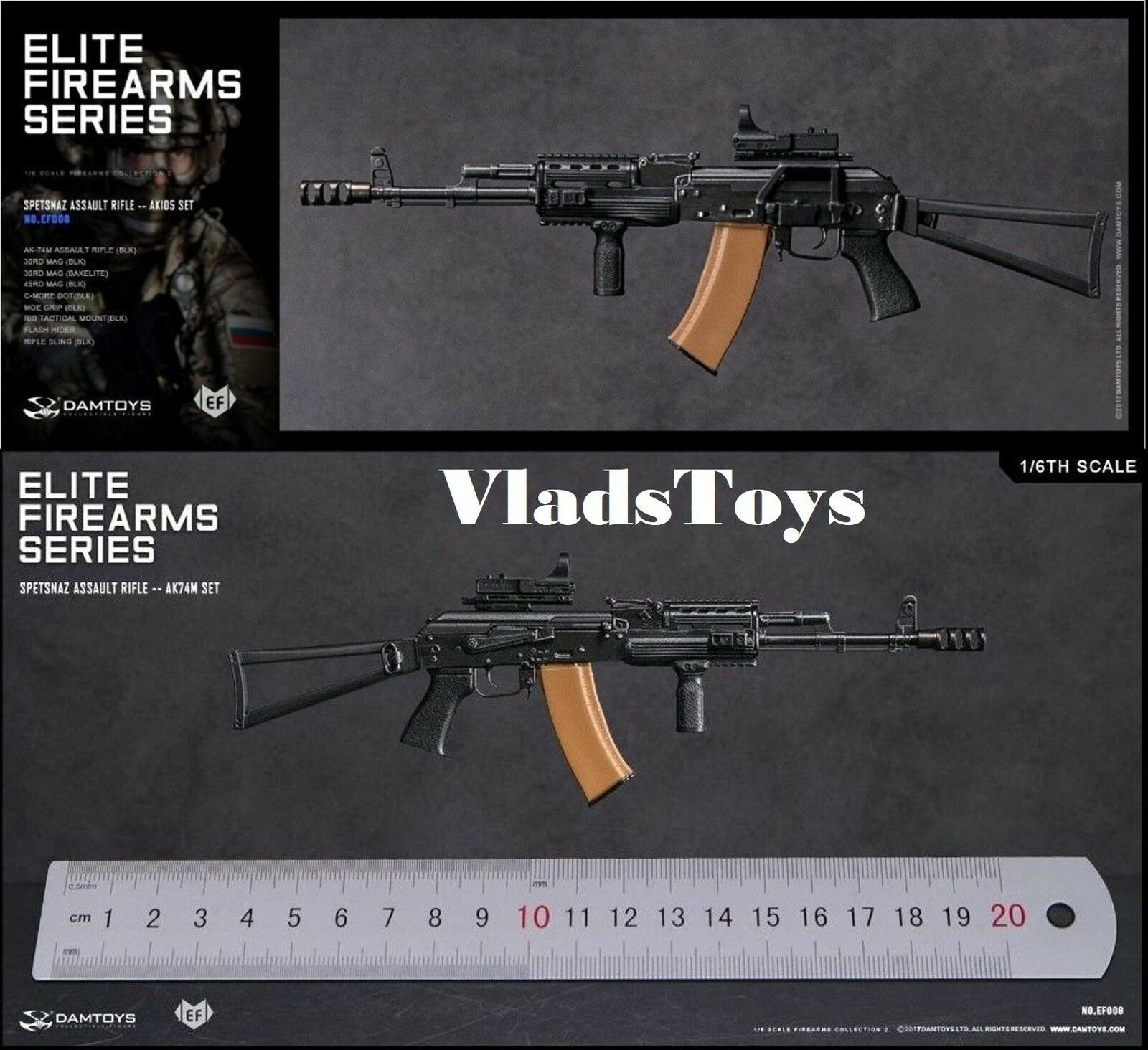 Spetsnaz Assault Rifle AK74M Set 1 6 6 6 Damgiocattoli Elite Firearms Series 2 EF008 USA 57d906