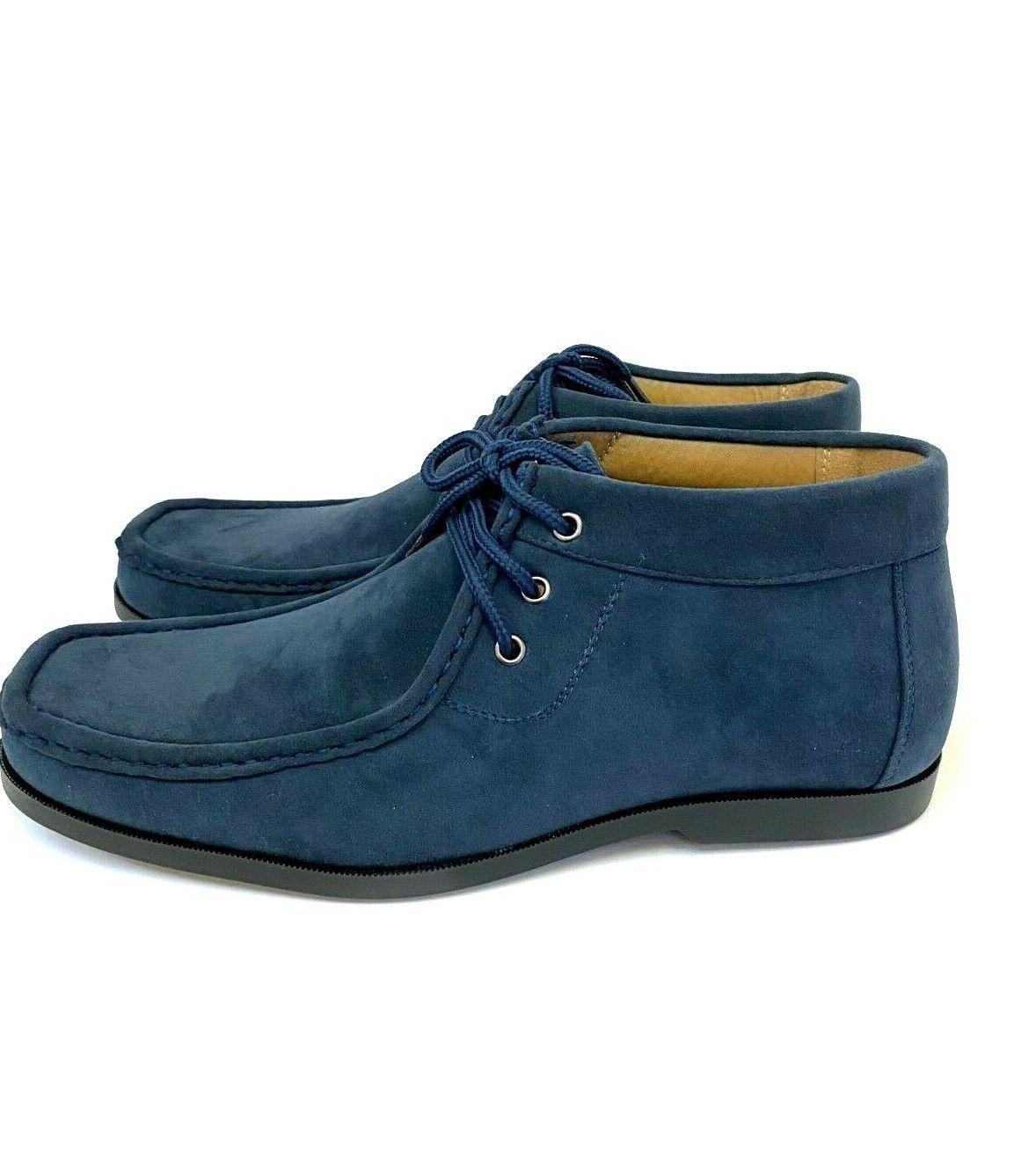 Faranzi FB4787 Men's Wallabees Shoes Ankle Boots Navy Micro-Fiber Suede