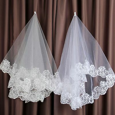 Vintage Embroidered Lace Edge Cathedral Tulle Wedding Veil White Ivory 1.5M Long