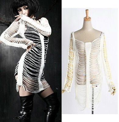 Punk Skeleton Black Knit Sweater Top Sexy Women's Gothic Visual Kei White M018