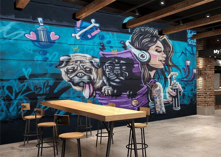 3D Girl Dog Graffiti 7 Wall Paper Murals Wall Print Wall Wallpaper Mural AU Kyra