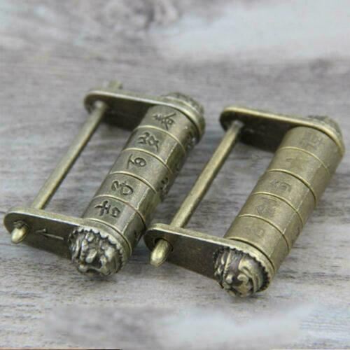 Chinese Antique old style password Brass Carved Word lock Vintage padlock V1E4