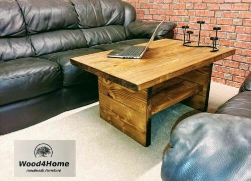 120cm long Large Coffee Table with Shelf , Rustic colours Wax Solid Wood Chunky