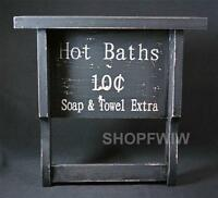 Primitive Country Distressed Black Wooden Shelf With Towel Bar - hot Baths