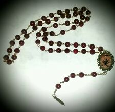 "Se7en Deadly ""Poison"" Antiqued Cranberry Beaded Rosary Necklace Gothic Pinup"
