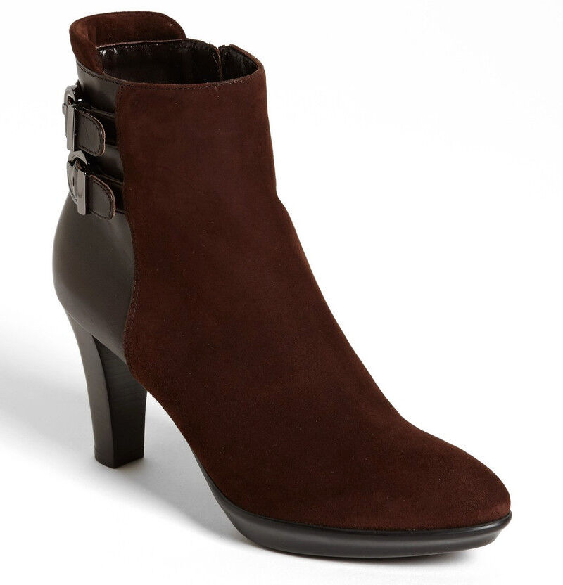 NEW Aquatalia by Marvin K Roma Weatherproof Suede Leather Bootie US 11 Chocolate