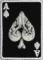 Outlaw Skull Ace Of Spades Biker Vest Sew On Patch (b/w)