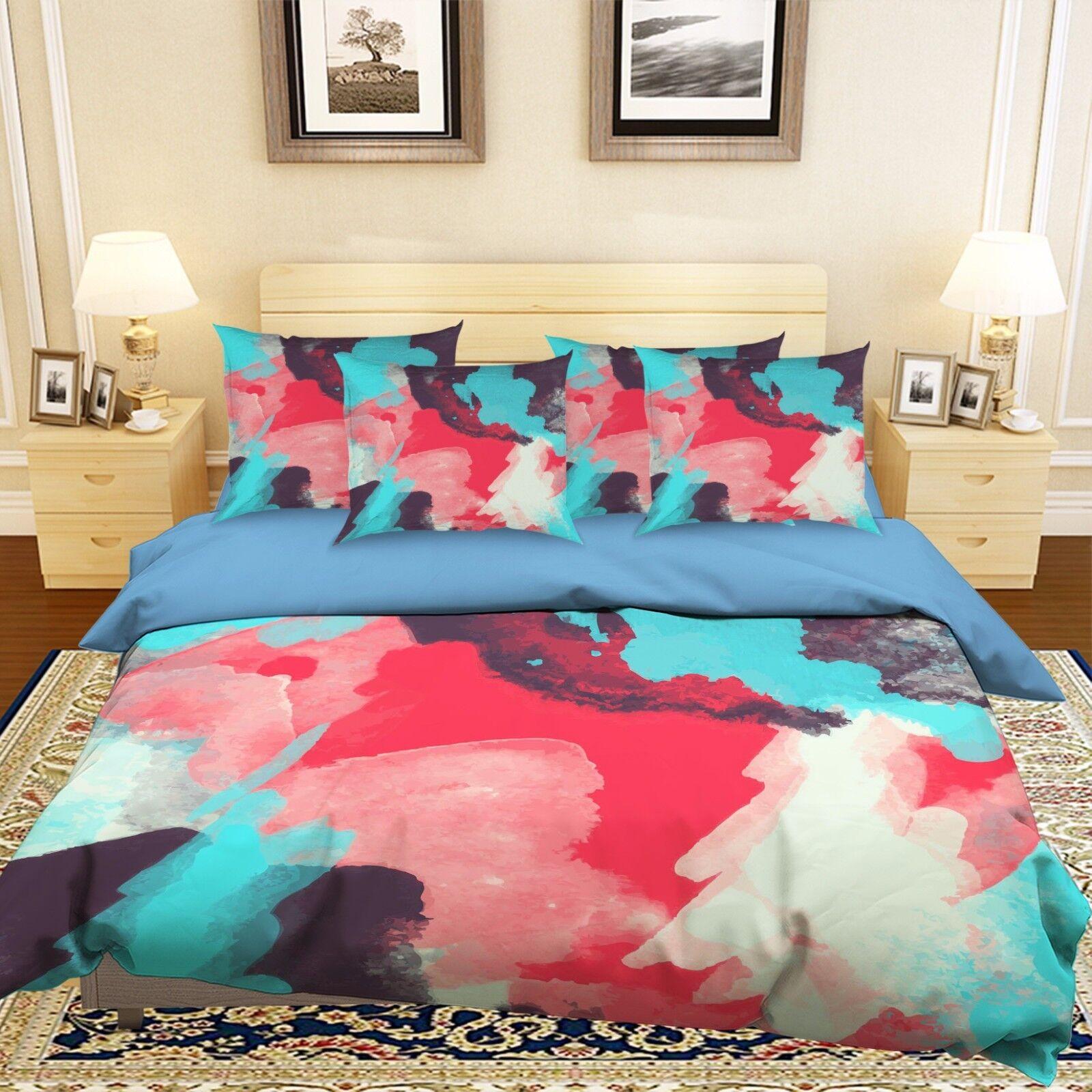 3D WaterColoreees Graffiti 42 Bed Pillowcases Quilt Duvet Cover Set Single Queen CA