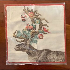 Nwt Pottery Barn Stag W Ornaments Holiday Pillow Cvr