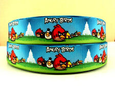 1 METRE ANGRY BIRDS RIBBON 7/8 BOWS HEADBANDS BABY HAIR CLIPS BIRTHDAY CAKE