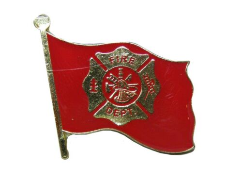 Fire Department Fighters Flag Red Bike Motorcycle Hat Cap lapel Pin