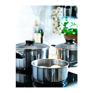 IKEA-ANNONS-5-piece-cookware-set-glass-stainless-steel-NEW-FREE-SHIPPING