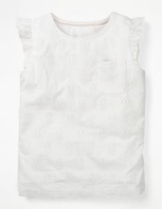 NEUF RRP £ 22.00 BABY BODEN jolie broderie Top-PROVENCE blanc pinneapple (U34)