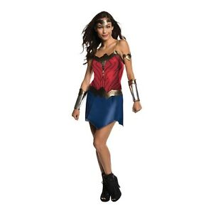 Adult-Womens-Deluxe-Wonder-Woman-Justice-League-Costume-Dress-Crown-Gauntlets