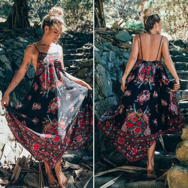 Women Boho Maxi Floral Sleeveless Sundress Evening Party Summer Beach Long Dress