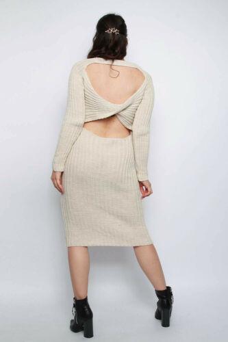 Femmes Nœud Dos Ouvert Tricot Midi Soirée Jour Robe Pull Uk Soze 8-14