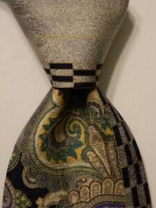 VITALIANO-PANCALDI-Men-039-s-100-Silk-Necktie-ITALY-Luxury-Geometric-Blue-Gray-EUC