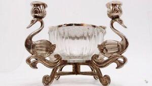 Kerzenleuchter silber schwan metall kerzenständer glas steckschale
