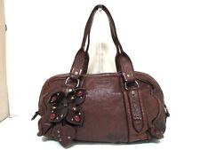 Authentic miumiu Dark Brown RR1150 Leather Bijou / Flower Handbag w/ Dust Bag