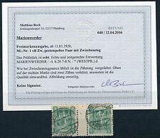 Marienwerder 5 Pf. Sarg I 1920 Stegpaar Michel 1 xB Zw Befund (S12513)