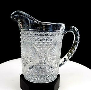 IMPERIAL-GLASS-671-AMELIA-STAR-MEDALLION-CLEAR-CANE-amp-STAR-5-75-034-PITCHER-1925