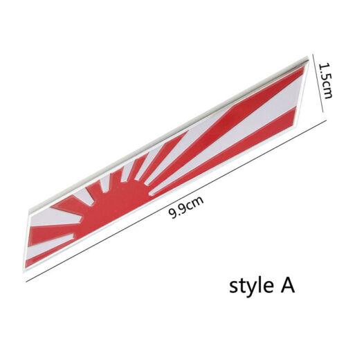 Alloy Japan Rising Sun Flag Emblem Japanese Rhombus Car Stickers Thin Badge
