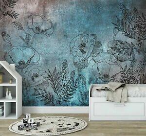 Details zu VLIES FOTOTAPETE Dekoration Floral TAPETE Schlafzimmer Blumen  Blau