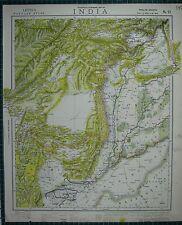 1883 LETTS MAP ~ INDIA PUNJAB BELUCHISTAN AFGHANISTAN