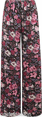 LADIES STANDARD & PLUS SIZE FLORAL PRINT PALAZZO WIDE LEG TROUSERS SIZES 10-26