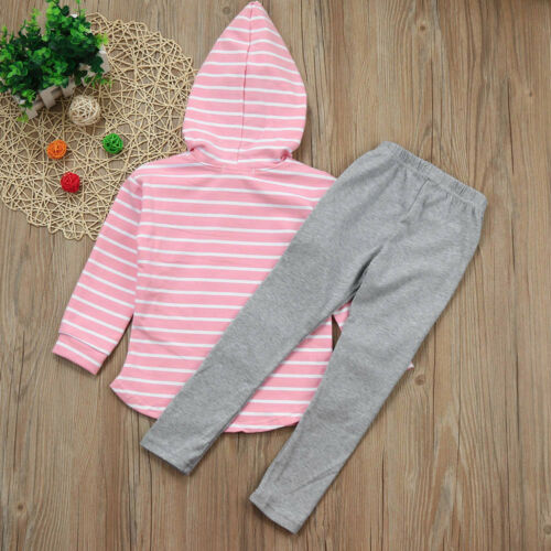 2pcs Toddler Kids Boys Girls Hooded Tops+Pants Outfits Unisex Warm Baby Clothes