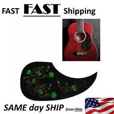 Green Flower Acoustic Guitar Pickguard - Replacement or MOD -- NEW