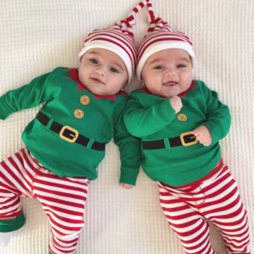 Christmas Newborn Kids Baby Boy Girl Romper Tops Long Pants Hat 3PC Clothes Suit